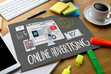 ONLINE ADVERTISING man working on laptop , Online Advertising We