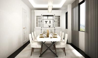 The luxury design interior of dining room