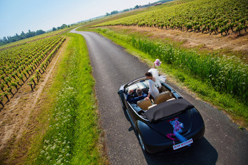 Top view. newlywed  going on honeymoon by car on country road