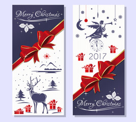 Merry Christmas 2017.  Purple greeting Christmas card with gift box, red ribbon and bow, reindeer in a snowy winter forest, Christmas angel and antique clock . Vector flyer template