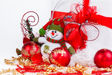 Christmas shopping,snowman and Christmas decorations on a white background