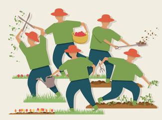 Busy gardener illustration