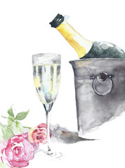 Bottle of champagne in the ice bucket with crystal glass and roses handmade watercolor painting isolated on white