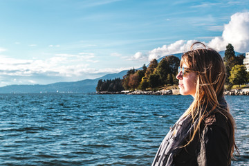 Girl near Stanley Park in Vancouver, Canada Wall mural