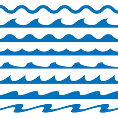 Set of Blue water waves icons. Vector Illustration