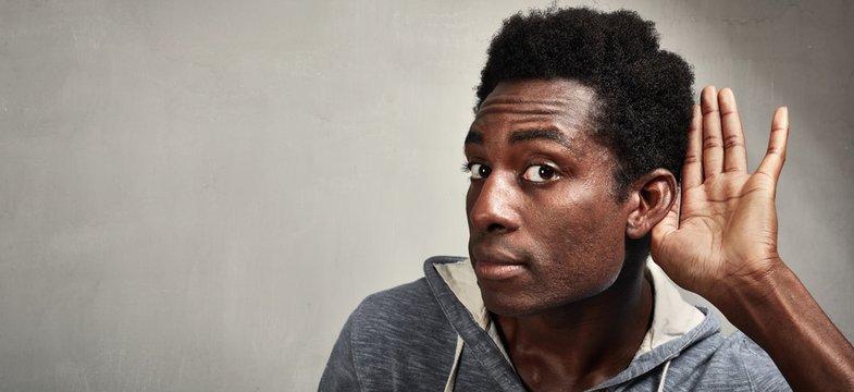 listening black man.