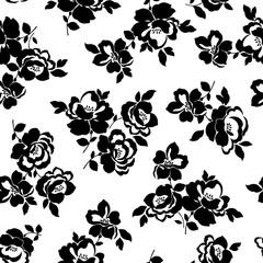 Foto auf Leinwand Blumen weiß - schwarz テクスチャー, 花のパターン