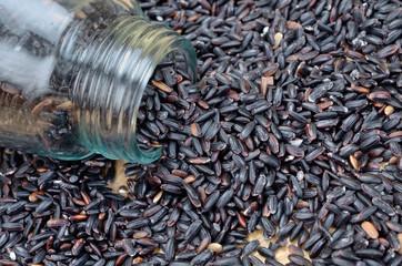 black rice on table
