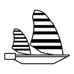 outline sailing ship boat travel design vector illustration eps 10