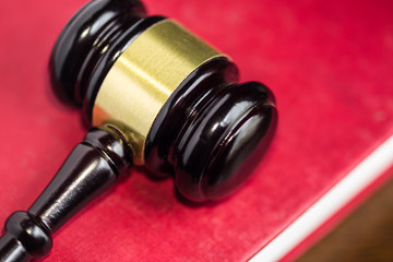 Gavel on red cover legal textbook