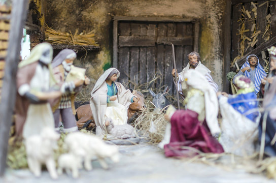Christmas Nativity scene, figurines from Naples, Italy