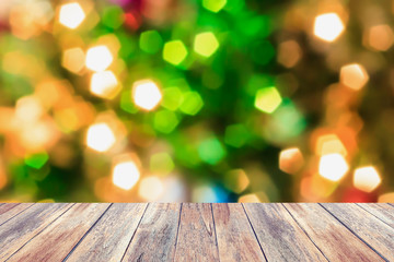 Christmas tree with bokeh light blur background