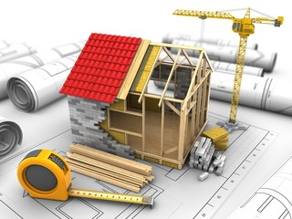3d illustration of frame house structure over drawings background with crane