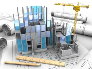 3d illustration of building construction over drawing rolls background with crane
