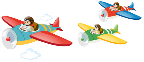 Three kids flying jet plane