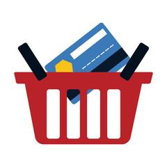red basket buy online bank credit card digital vector illustration eps 10