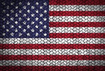 America or USA flag on rattan weave wall shadow