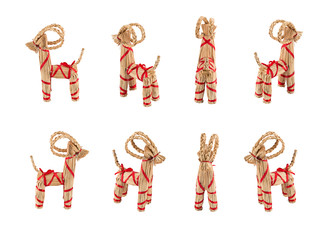 Collection of Yule Goats or Christmas goats, a Scandinavian and Northern European traditional Christmas decoration