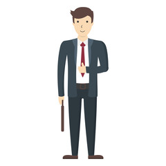 Isolated businessman Funny handsome businessman in suit on white background.
