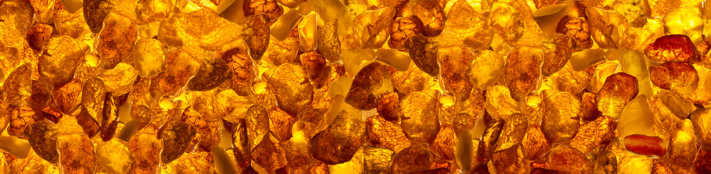 panoramic closeup baltic amber stones rectangular lie on a flat surface