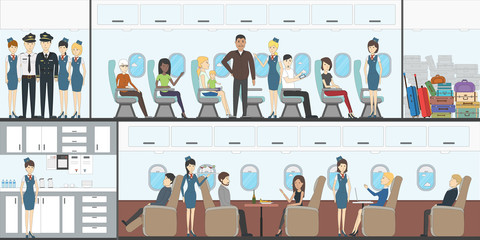 People in airplane. Aircraft transport interior.