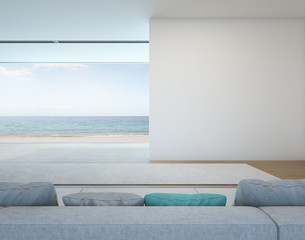 Wall Mural - Sea view living room with white wall in modern house - 3D rendering