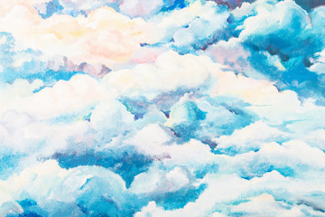 Bright painted cloudy sky background. Unreal blue heaven. Creative paint of wall, creativity, art, idea, beauty concept. Great peaceful background