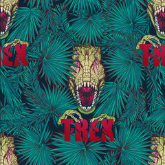 Paleonthology seamless pattern. Detailed sketch style drawing of the roaring tirannosaurus rex hiding among tropical palm tree leaves. Vivid colors. EPS10 vector illustration.
