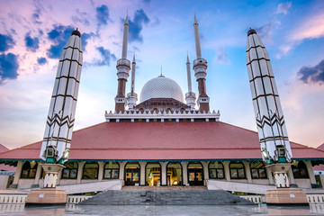 Epic scenery of Great Mosque Of Central Java, Semarang, Indonesia. This photo captured at sunset, featuring two beatiful pillar, and also mosque it self with beautiful architecture design