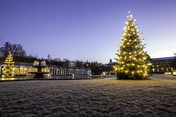 Beleuchteter Weihnachtsbaum am Kurhausplatz in Wiesbaden