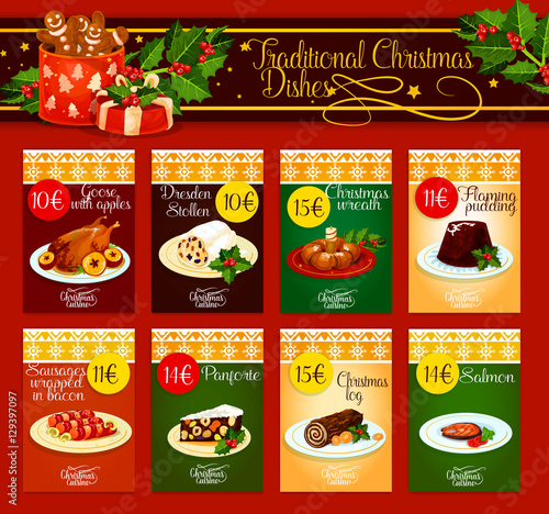 Traditional christmas dishes for menu design stock image for Senor fish menu