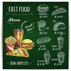 Fast food menu chalk sketch on blackboard