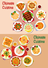 Chinese cuisine dishes icon for menu design