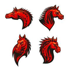 Angry flaming horse mascot set