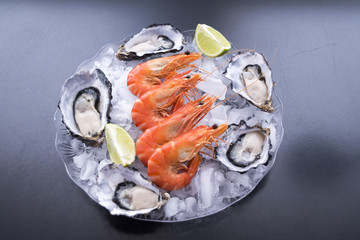 Seafood Cold Plate, oyster, lake prawns, olives and lime