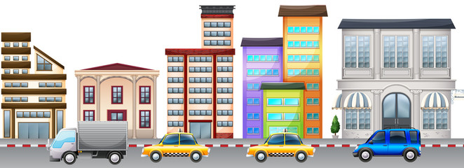 City scene with buildings and cars on road