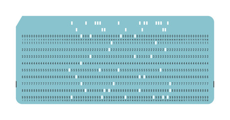 Punched card. Vintage computer data storage. Vector