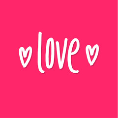 Love . Happy Valentines Day Pink Lettering Background Greeting Card