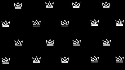 Vector repeating patterns. Crown on a black background.