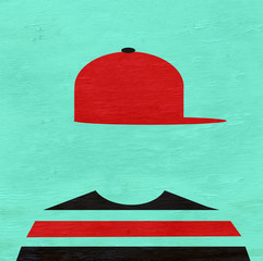 youth wearing baseball cap sideways on wood grain texture