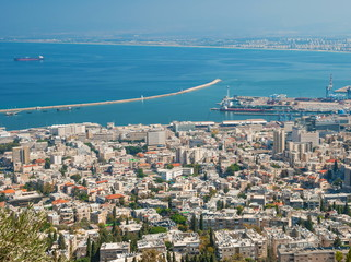 Top view of the city of Haifa, Mediterranean Sea and the port