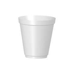 White plastic cup of coffee. Isolated on white background. Vector illustration