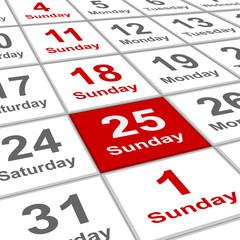 planning calendar sunday 25