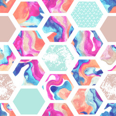 Watercolor hexagon seamless pattern