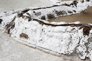Close up of a salt ponds located at Maras, The Peru's Sacred Valley