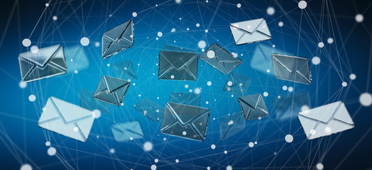 3D rendering flying email icon and web flying
