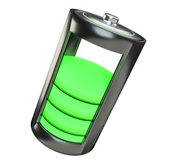 3D render green battery