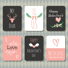 Valentine's day vector greeting card doodle style collection .