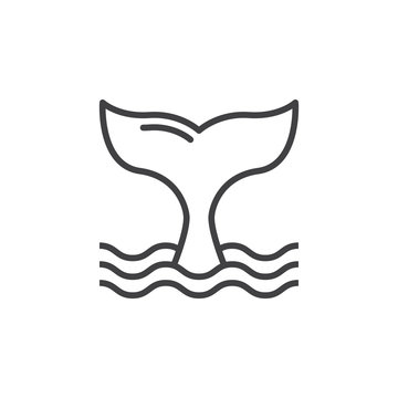 Whale tail line icon, outline vector sign, linear pictogram isolated on white. Symbol, logo illustration