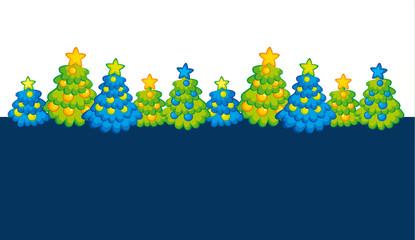 Xmas holiday childish header with cute Christmas tree. Kid style